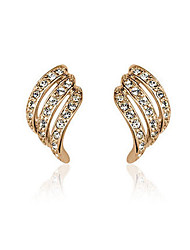 Stud Earrings Rhinestone Gold Plated 18K gold Fashion Gold Silver Jewelry 2pcs