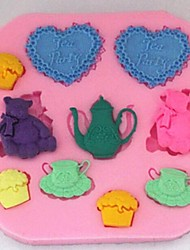 filhotes amo chá ferramentas fondant bolo de chocolate silicone molde do bolo do cupcake decoração, l8.1cm * * w7.9cm h0.9cm