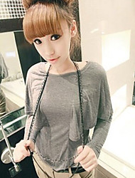 Cloak Style Batwing Sleeve Pure Color T-Shirt Gray