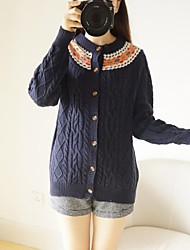 Women's Blue/Beige Cardigan , Casual Long Sleeve