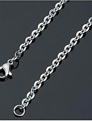 2.4mm*50cm  European Unsex Titanium Steel Chain Necklace(Silver) (1 Pc) Jewelry Christmas Gifts