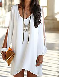 moda cor sólida v vestido de Abigail mulheres pescoço