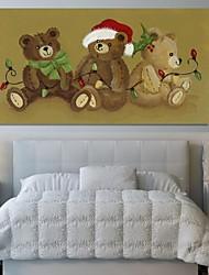 Weihnachtsdekoration Leinwand Drucke Kunst Cartoon drei Bären mit Lichtern durch beverly johnston