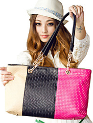 Erlen Women's Korean Style Tri-Color Splicing Tote/One Shoulder Bag(Sreen Color)