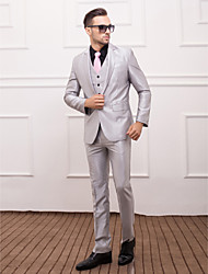 Silver Polyester Slim Fit Three-Piece Suit