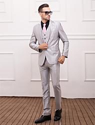 poliéster plata slim fit traje de tres piezas