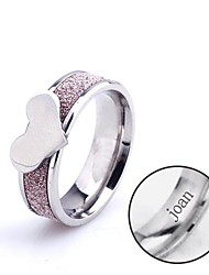 Personalized Gift Heart-Shaped Ring Stainless Steel Engraved Jewelry
