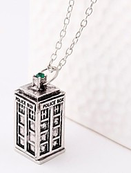 Women's Fashion Ancient Silver Bronze Telephone Booth Necklace(1ps)