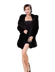 casacos de pele do falso moda casaco de pele preto de mangas compridas