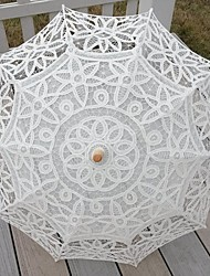 "Wedding / Beach / Daily / Masquerade Lace / Cotton Umbrella Beige 26""(Approx.66cm) Metal / Wood 30.7""(Approx.78cm)"