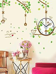 Wall Clock adesivos adesivos de parede, pouco ssettling pássaros natural na parede ramo pvc adesivos