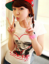 New Arrival Lovely Heart Girl Short Sleeve T-shirt White