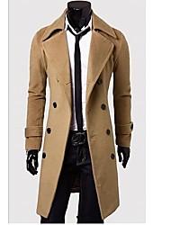 moda lapela pescoço cor sólida dupla mama jaqueta de manga longa dos homens HEKO