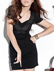 beauteous Quer Seide verziert Reißverschluss V-Ausschnitt dünnes Kleid schwarz