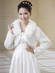 Wedding Wraps Long Sleeve Faux Fur Warm Bridal Wedding Wrap / Jacket With Ribbon