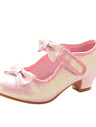 Girls' Shoes Dress / Party & Evening Leatherette Heels Spring / Fall Heels Chunky Heel Pink / Silver / Gold