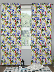 TWOPAGES® Tropical Style Colorful Leaves Pattern Curtains Drapes Two Panels