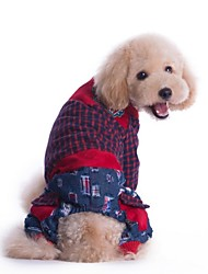 Dog Shirt / T-Shirt Red / Green Dog Clothes Winter Plaid/Check / Jeans Cosplay