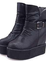Winble Women's Fashion Causual Comfortable Temperament Platform Leather Martin Boots