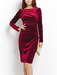 vestido de seda de manga larga de color sólido cabido de las mujeres qsh