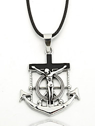 Men's Zinc Salvation Cross Black Rope Necklace  Pendant