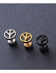 aretes de acero de titanio símbolo de paz fash europeos (multicolor) (3 pc)
