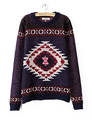 Women's Round Neck Geometric Chest Positioning Printed Sweaters