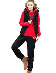 Women's Hooded Fleece Thickening Fashion Three Piece  Suit (Hoodie & Pants & Vest)(More Colors)