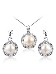 Noble 18K Platinum Plated Clear Austria Crystal White Pearl Pendant Party Necklace Earrings Jewelry Set