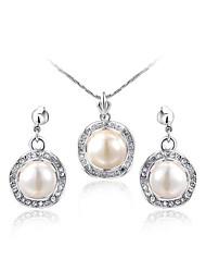 plaqué platine 18k noble cristal clair autriche blanc perle boucles d'oreilles collier pendentif en partie ensemble de bijoux