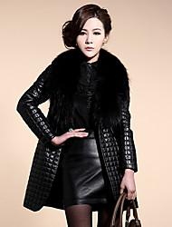 · с · е&F женская хлопок меховой воротник пальто кожи