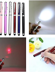 LT-4-In -1 Function  Ballpen Capacitive Touch Red Laser Pointer(3MW.650nm.3 X button cell.Multicolor)