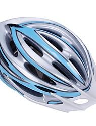 высокой воздухопроницаемостью PC + EPS черный велосипедный шлем со съемным солнцезащитный козырек (21 отверстия) - голубой + серебристый