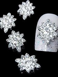 10шт серебро шестерня цветок 3d сплав горный хрусталь ногтей украшения