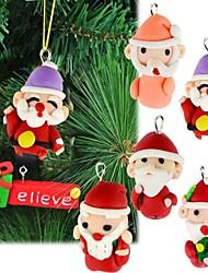 6pcs argile polymère accessoires de Noël faits à la main l'arbre de Noël décoration de cadeaux