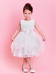 A-line / Princess Knee-length Flower Girl Dress - Lace / Tulle Sleeveless Jewel withBow(s) / Flower(s) / Lace / Pearl Detailing / Sash /