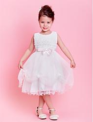 Flower Girl Dress - A-line/Princesse Longueur genou Sans manches Dentelle/Tulle