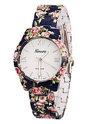 ONITIME Women's Flower Print Alloy Band Quartz Wrist Watch