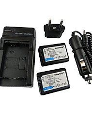 Ismartdigi-Sony NP-FW50 x2 (1500mAh,7.2V) Camera Battery+EU Plug+Car Charger For NEX-5T 5R 3N F3 C3 A7 7 A55 A35 A7R