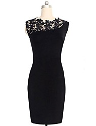Women's Round Collar Lace Patchwork Pencil Dress