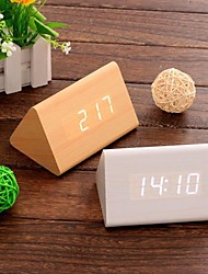 Digital Calendar Thermometer Time LED Sound Control Wooden Alarm Clock(White&Khaki&Black,3*AAA)