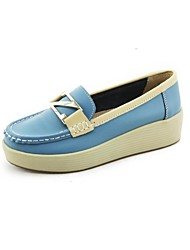Women's Shoes Round Toe Wedge Heel Leather Loafers Shoes More Colors available
