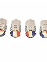 DIY French Flag Pattern Universal Tire Air Valve Caps--Silver(4PCS)