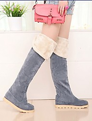 Fashion Pure Color Plus Wool Warm Boots Grey