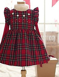 Sleeveless Check Pattern Princess Dress Kids Christmas Costume