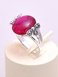 AS 925 Silver Jewelry  Simple red corundum ring