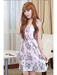 Charming Hot Sale Concise Flower Printing Pajamas Pink
