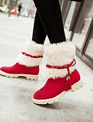 Women's Spring / Fall / Winter Round Toe / Fashion Boots Faux Suede Dress Chunky Heel Braided Strap / FurBrown / Pink / Red / Beige /