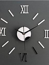 Wall Clock adesivos adesivos de parede, 3d espelho fonte romana de parede de acrílico adesivos