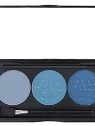 3 Color Blue Shimmer Glitter Powder Professional Eye Shadow Makeup Cosmetic Palette with Mirror&Applicator Set 3#